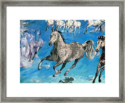 Framed Print featuring the painting mural detail Equus Descending  by Tim  Heimdal