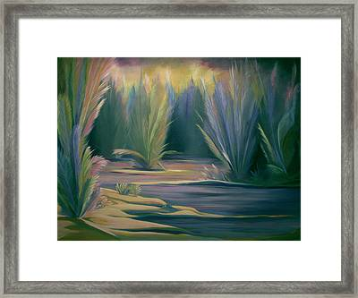 Framed Print featuring the painting Mural Field Of Feathers by Nancy Griswold