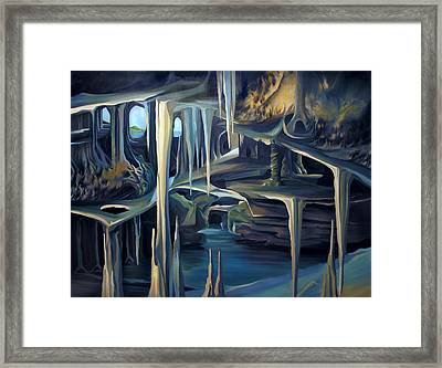 Mural Ice Monks In November Framed Print by Nancy Griswold