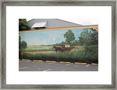 Mural Of Horse And Buggy In Arkansas Framed Print by Carl Purcell