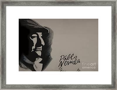 Mural Of Nobel Laureate Poet Pablo Neruda Framed Print