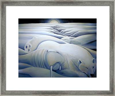 Mural  Winters Embracing Crevice Framed Print by Nancy Griswold