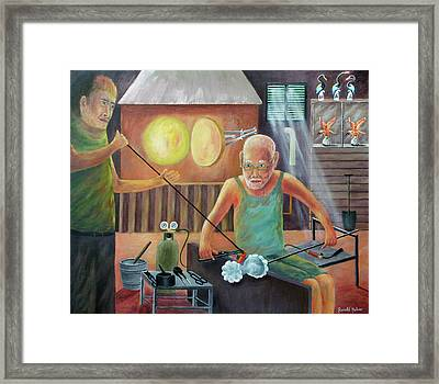 Murano Glass Blowers - Italy Framed Print by Ronald Haber