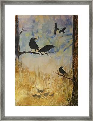 Murder Of Crows Framed Print by John Vandebrooke