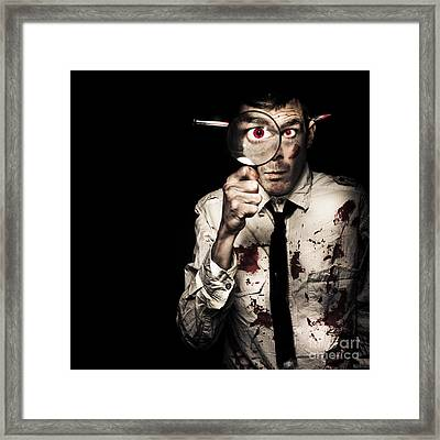 Murdered Businessman Searching For Homicide Clues Framed Print