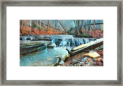 Muscatatuck Falls Touch Of Blue Abstract Framed Print