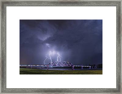 Muscatine Bridge Lightning Framed Print by Paul Brooks