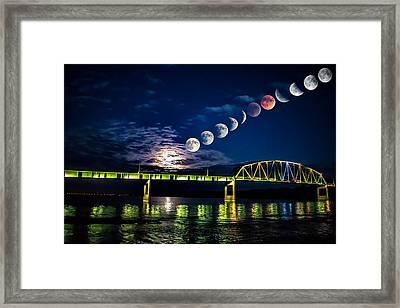 Muscatine Bridge Lunar Eclipse 9-27-15 Framed Print