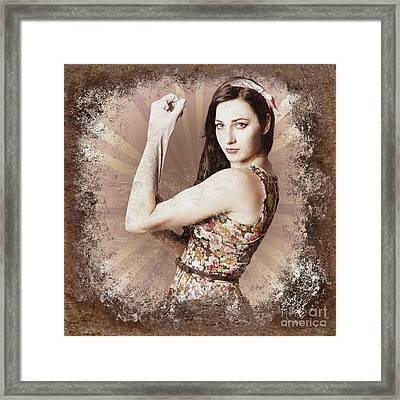 Muscle And Strength Pinup Poster Girl Framed Print