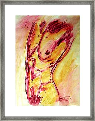Muscled Male Nude Arched Back In A Classic Erotic Model Pose In Watercolor Purple And Yellow Sketch Framed Print