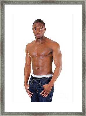 Muscular Black Man Framed Print