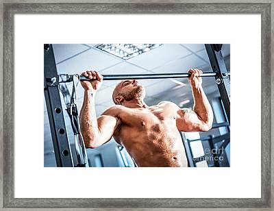 Muscular Strong Man Training At A Gym. Framed Print by Michal Bednarek
