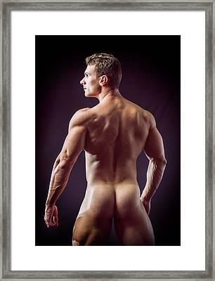 Muscular Totally Naked Man Facing Back Framed Print