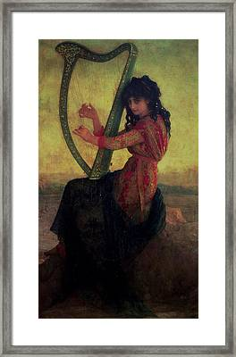 Muse Playing The Harp Framed Print by Antoine Auguste Ernest Hebert
