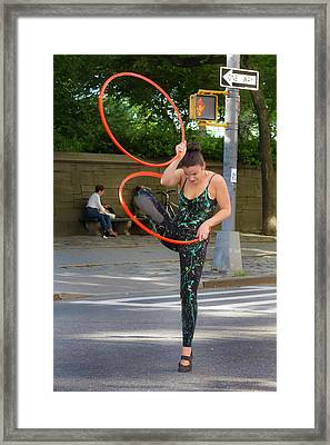 Museum Mile Nyc 6_14_16 Dancer With Hula Hoops Framed Print