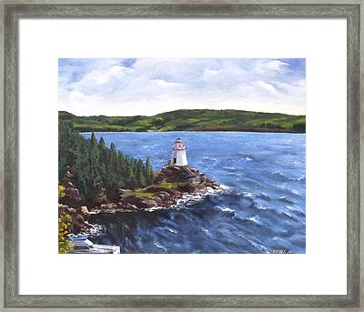 Musgravetown Lighthouse Framed Print by Diane Daigle
