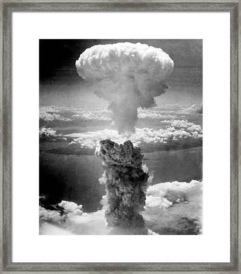 Mushroom Cloud Over Nagasaki  Framed Print by War Is Hell Store