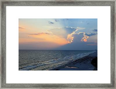 Mushroom Clouds Beach Sunset Framed Print by Theresa Campbell