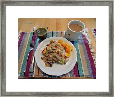 Framed Print featuring the digital art Mushroom Gravy Over Breakfast Quiche  by Jana Russon