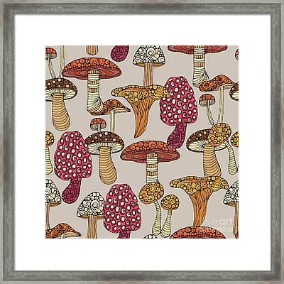 Mushroom Pattern Framed Print