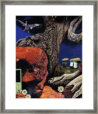 Mushroom People - Collage Framed Print
