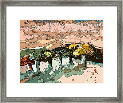 Mushroom Rows Framed Print by Mindy Newman