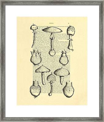 Mushrooms Art For Kitchen Decor Framed Print by Madame Memento