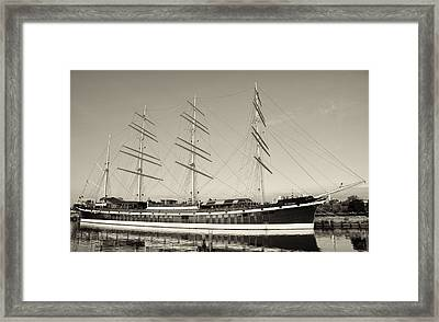 Mushulu - Penns Landing In Sepia Framed Print