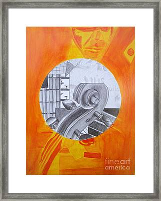 Framed Print featuring the painting Music 3 by Maria Langgle
