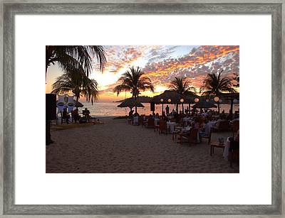 Music And Dining On The Beach Framed Print by Jim Walls PhotoArtist