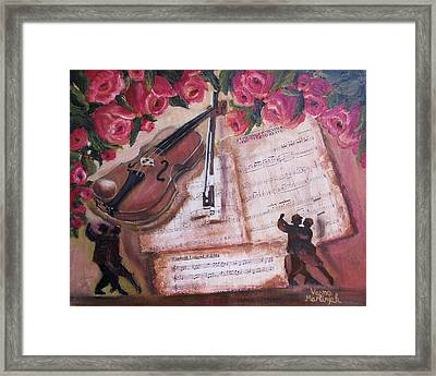Music And Roses Framed Print by Vesna Martinjak