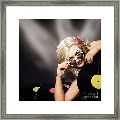 Music Dj Girl Holding Audio Vinyl Record Framed Print by Jorgo Photography - Wall Art Gallery