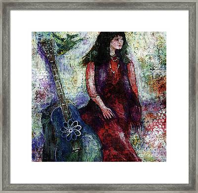 Framed Print featuring the digital art Music Feeds Her Spirit Too by Claire Bull