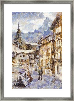 Music In The Village Square Framed Print