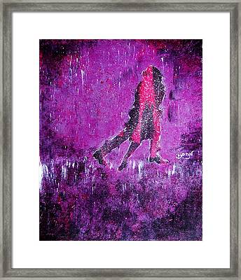 Music Inspired Dancing Tango Couple In Purple Rain Contemporary Lyrical Splattered And Emotional Framed Print