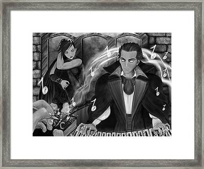 Music Is Magic - Black And White Fantasy Art Framed Print by Raphael Lopez