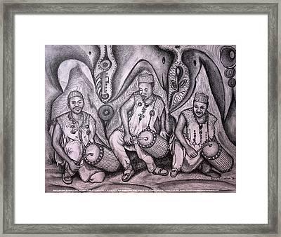Music-making For Cosmic Unity #1 Framed Print by Mbonu Emerem