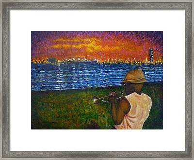 Framed Print featuring the painting Music Man In The Lbc by Amelie Simmons