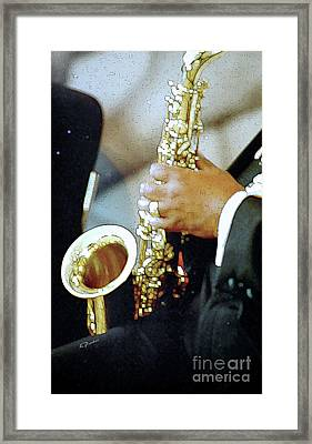 Music Man Saxophone 1 Framed Print by Linda  Parker