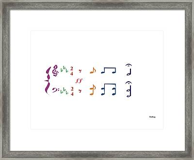 Framed Print featuring the digital art Music Notes 1 by David Bridburg