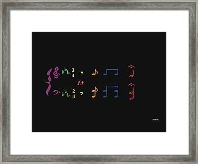 Framed Print featuring the digital art Music Notes 35 by David Bridburg
