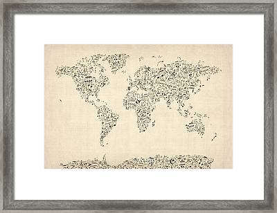Music Notes Map Of The World Map Framed Print by Michael Tompsett