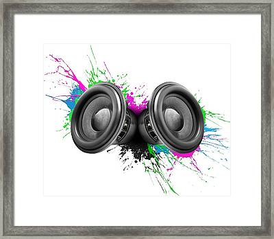 Music Speakers Colorful Design Framed Print by Johan Swanepoel