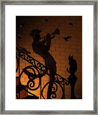 Music To My Ear Alley Trumpeter Framed Print