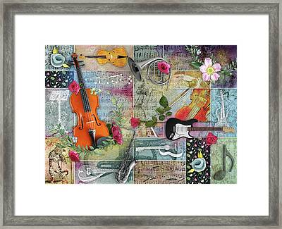 Musical Garden Collage Framed Print