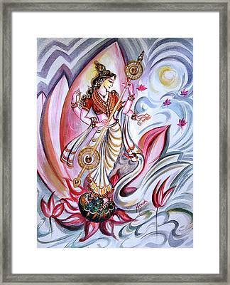 Musical Goddess Saraswati - Healing Art Framed Print by Harsh Malik