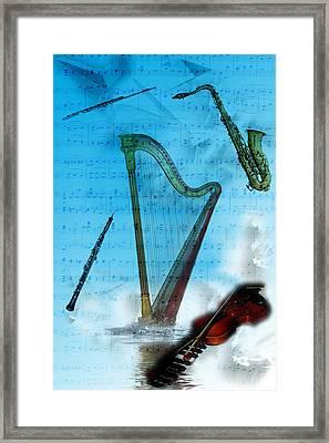 Framed Print featuring the digital art Musical Instruments by Angel Jesus De la Fuente
