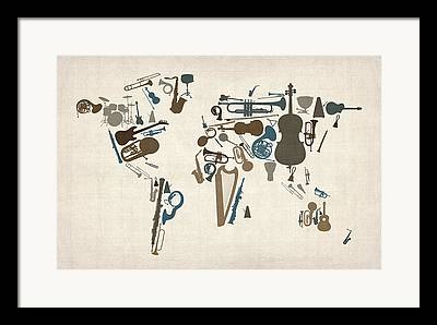 World Map Poster Framed Prints