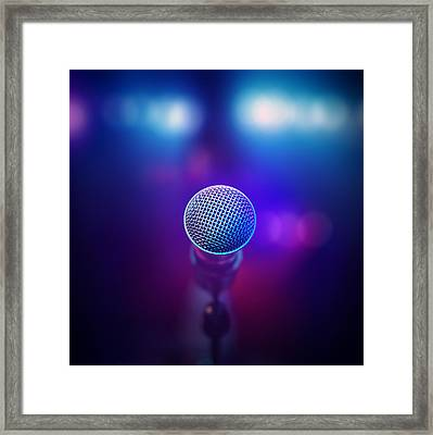Musical Microphone On Stage Framed Print by Johan Swanepoel
