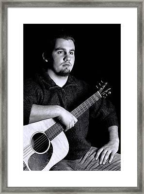 Musician Playing Guitar Portrait Framed Print